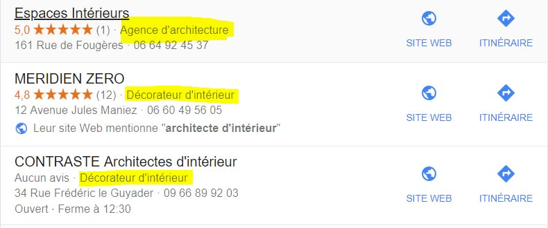 categorie google my business