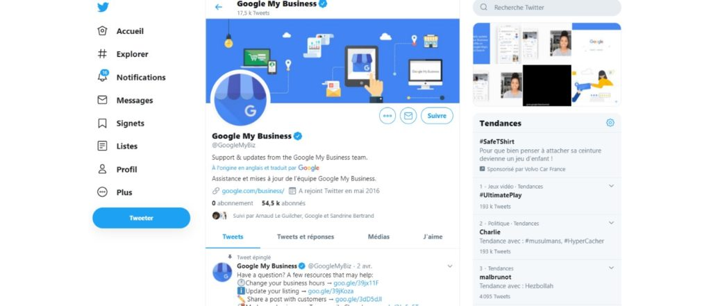 Google My Business sur Twitter